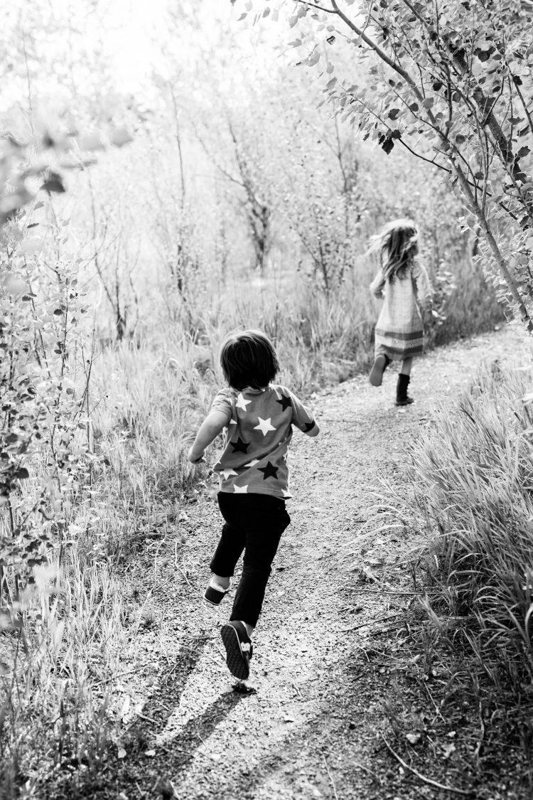 children on a path in Boulder