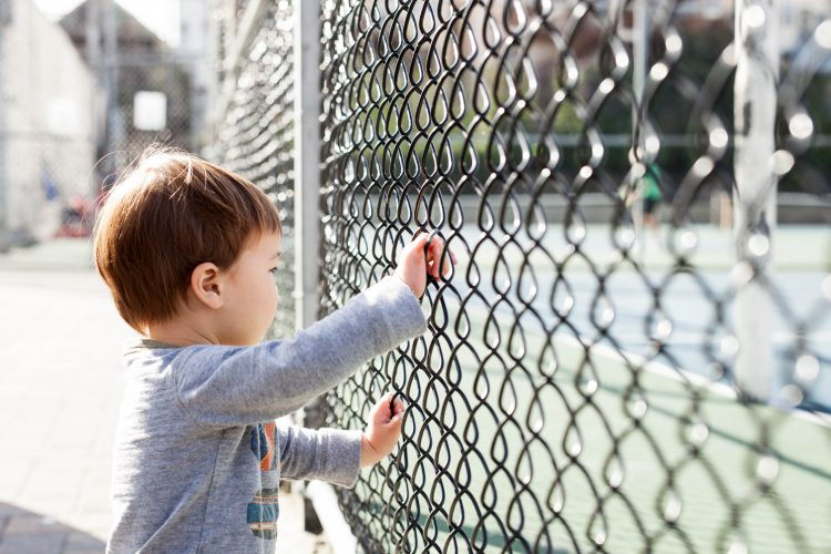 byoung boy looking through chain-link fence